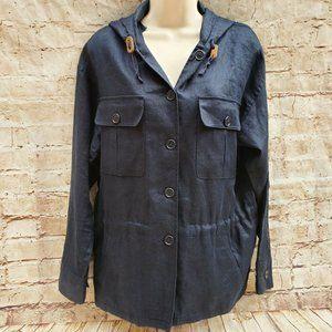 Lauren Ralph lauren Sz M 100% Linen Jacket Blue